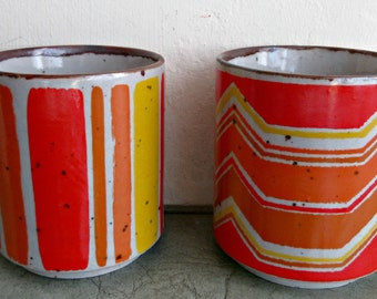 Vintage Mugs, Small Stoneware Mugs, Made in Japan, 1970s Mugs, Orange and Yellow Cups, Geometric Shapes, Vintage Stoneware Counterpoint Mugs