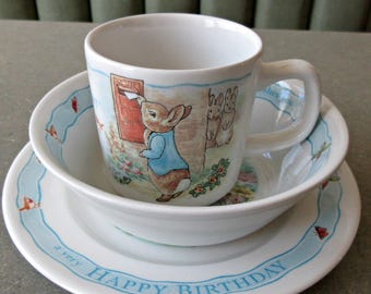 Vintage Peter Rabbit Dishes, Beatrix Potter, Wedgwood Dish Set, Child's Dishes, Peter Rabbit Happy Birthday Dishes, Ceramic Cup Bowl Plate