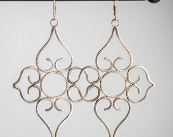 Marina Exotic Silver Earrings, Long, Large, Drop, Brushed
