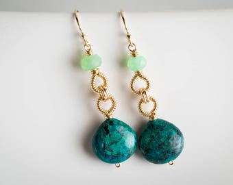 Cayla Coiled Dangle Earrings w/ Chrysocolla & Chrysoprase