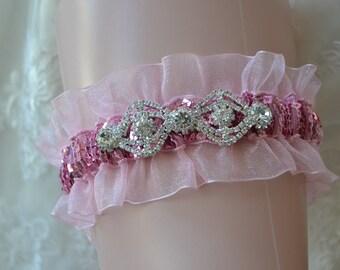 Pink Prom Garter- Prom Garter- Sequin Garter-Prom-Garter-Garter Belt-Custom Colors