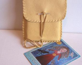Leather Tarot Bag / Medicine Bag...MEDIUM Vertical Flap..CREAM