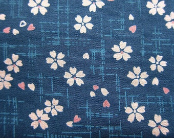 Cherry Blossom Fabric - Floral Print Fabric - Cotton Fabric - Cherry Blooms on Teal - Fat Quarter
