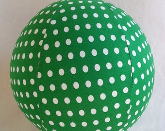 Fabric Balloon Ball Cover - TOY - Kelly Green White Polka Dot - Great St Patrick's Decor or Easter Basket Toy