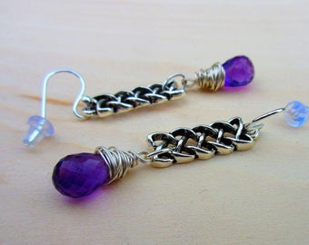 Amethyst and Silver Celtic Earrings, Celtic Knot Earrings, Irish Purple Crystals. Celtic Jewelry.