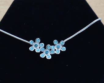 """Delicate Vintage Light Blue Rhinestone Floral Necklace, Silver tone, Adjustable, """"Claire's"""" (AE1)"""