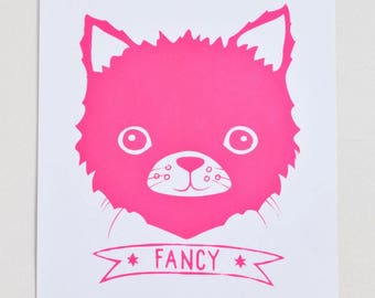 Fancy Cat - hot pink screen print on recycled paper, 11x14