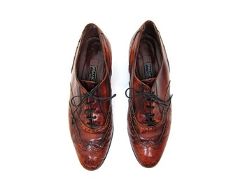 Italian Leather Oxfords Brown Burnished Lace Ups Preppy Librarian Shoes Modern Wing Tips Boho Frank More Pointy Toes Womens 7