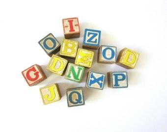 Wooden Toy Blocks retro Wood PlaySkool Letters & Number Blocks Toys Distressed Vintage Cottage Chic Shelf Decor