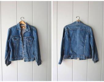 Vintage Levis Jean Jacket 80s 90s Denim Blue Levis Trucker Jacket Distressed Denim Coat Hipster Grunge Jacket Womens Medium Large
