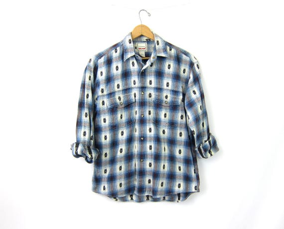 Western Cotton Shirt Pearl Snap Blue & White plaid Cowboy Top Boho Hipster Vintage Country Southwestern Men's Shirt Small