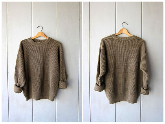 Oversize Waffle Knit Thermal Cotton Sweater Top Drab Army Green Oversized 90s Boyfriend Pullover Slouchy LL Bean Sweater Mens Large