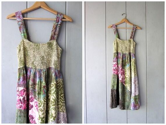 Vintage Patchwork Dress Bohemian Sun Dress Colorful Floral Flower Boho Peasant Midi Dress Tropical Dress Ruched Bust Dress Womens Medium