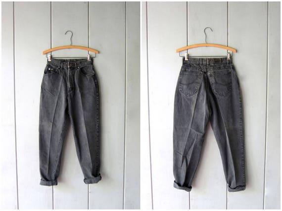 "LEE 80s High Waist Jeans Faded BLACK Denim Jeans Tapered Mom Jeans 1980s Hipster Grunge Street Wear Punk Denim Black Jeans Womens Waist 25"""