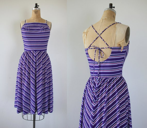 vintage 1970s dress / 70s sundress / early 80s sundress / 80s purple striped dress / 70s backless sun dress / 1980s open back dress / s med