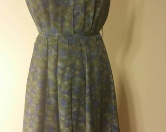 50s 60s dress 50's 60's watercolor pinup rockabilly cotton mod 1950's 1960's bombshell