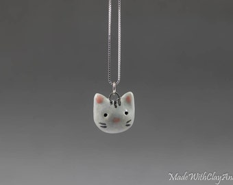 Little Porcelain Kitty Sterling Silver Necklace - Miniature Tiny Ceramic Grey Cat Head Face Animal Nature Handmade Jewelry
