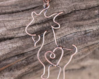 Goat Necklace. Oxidized Copper. Wire Jewelry