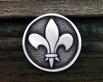 Round Fleur de Lis Pewter Pin Brooch | Fleur de Lis Jewelry | Flower | French | Heraldic | Handcrafted Jewelry | by Treasure Cast Pewter