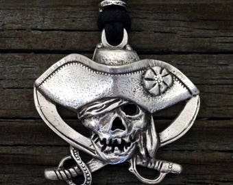 Pirate Skull and Crossed Swords Pewter Pendant