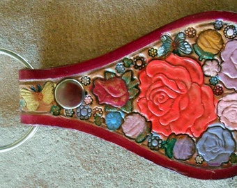 Leather Key Fob with Flowers Dragonfly and Bird with  Red Border