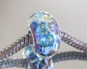 """RESERVED FOR ALEXANDRA Tangled Sky Glass """"Nebula"""" #2 Fully Sterling Silver Lined Lampwork Charm Bead BhB"""