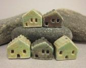 5 Saggar Fired Miniature House Beads... Copper Green Mix