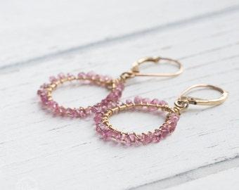Pink Tourmaline dangle hoops