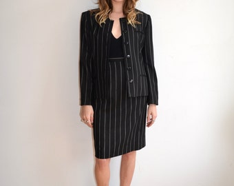 Vintage 90's Pinstripe Suit/ Two Piece Business Suit/ Matching Skirt and Jacket/ Size Small