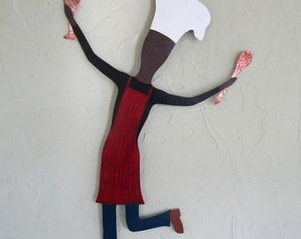 Metal Wall Art Chef Sculpture Culinary Wine Art Dancing Male Chef Recycled Metal Kitchen Decor Red Indoor Outdoor 15 x 22