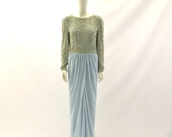 Vintage Dress Blue Dress Turquoise Dress Sequined Dress Beaded Dress Evening Gown Blue Gown