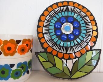 Blue and Orange Flower, Retro Flower, Mosaic Flower, Flower Wall Art