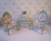Dollhouse Chair set, two Tatty  Chic chairs, table with chairs,  duck egg blue, Rosebud chairs, twelfth scale,  . Dining room