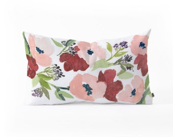 Oblong Throw Pillow - Pink Poppies