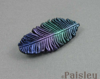 Jewel Tones Feather Brooch, metallic rainbow polymer clay feather with locking pin back