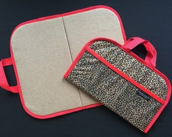 Mini Felt / Flannel Board with handles and storage 14 X16 Leopard Print w Red Trim