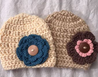Two Newborn Crocheted Hats