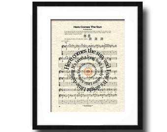 The Beatles Here Comes The Sun Song Lyric Sheet Music Art Print, The Beatles Song Music Art Print, Spiral Lyrics Art print, Nursery Art