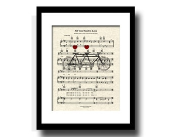 The Beatles All You Need Is Love Song Sheet Music Tandem Bicycle Art Print, Wedding and Anniversary Gift, Custom, Names and date