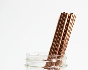 Rose Gold Foil Paper Straws, Baby Shower, Bridal Shower, Wedding, Birthday, Paper straws