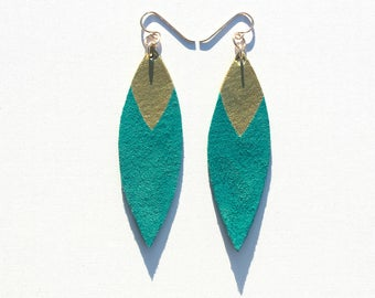 Painted Leather Leaf Earrings - Teal Suede and Gold with 14K Gold-Fill