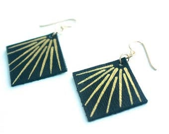 Hand Painted Leather Earrings - Black Leather with 14k Gold-Fill