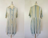 Vintage Short Sleeve Cotton Dress 40s Era Button Front Drab Stripes Pleated Waist Penney's Brentwood Frocks Size 20 1/2