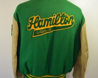 on sale Vintage Hamilton WILDCATS Varsity Letter Jacket 1982 DeLong sz. 50 milwaukee high school