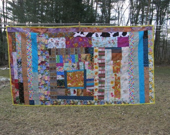 Freeform Scrappy Summer Quilt with Repurposed Backing Clearance 40% off