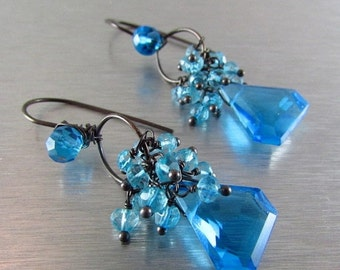 25OFF Turquoise Blue Quartz Wire Wrapped Oxidized Silver Earrings