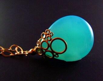 25% Off Aqua Blue Chalcedony Necklace - Bubbles