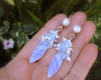 25% Off Blue Lace Agate With Pearl and Opalite Sterling Earrings