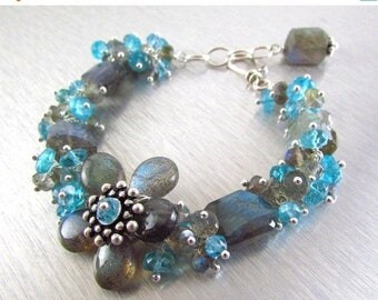 25 % OFF Labradorite and Apatite Sterling Silver Bracelet