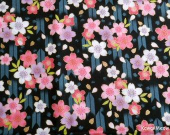 Japanese Kimono Fabric - Arrow Pattern Sakura Cherry Blossoms on Black - Fat Quarter (nu170418)